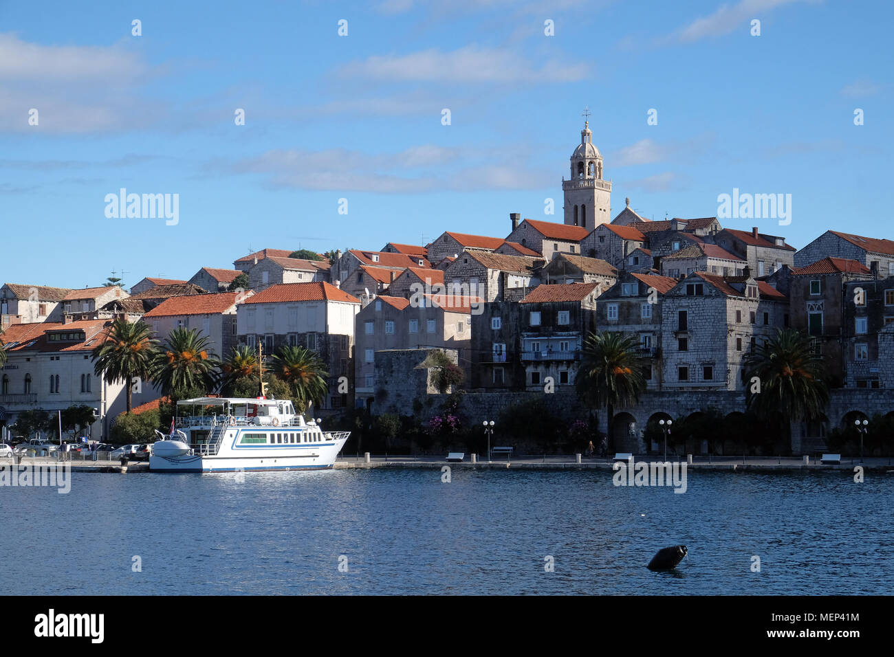 Seafront view at picturesque medieval Dalmatian town Korcula, Croatian culture and historic destination. Stock Photo