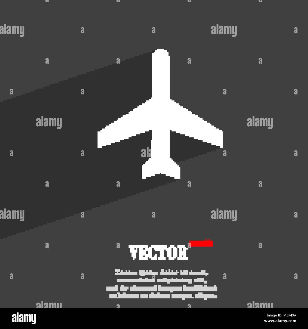 Plane Symbol Flat Modern Web Design With Long Shadow And Space For