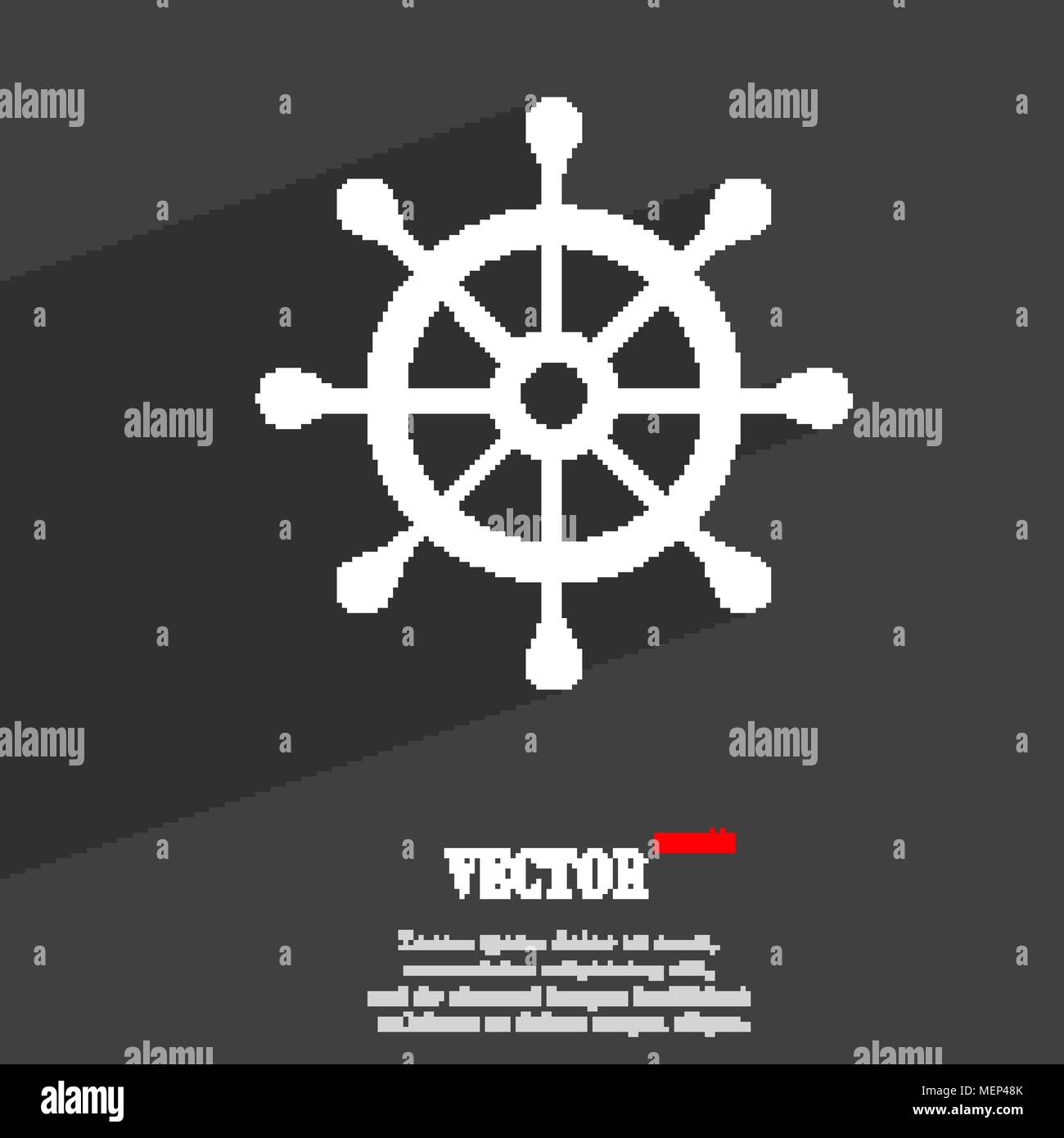 Ship Helm Symbol Flat Modern Web Design With Long Shadow And Space