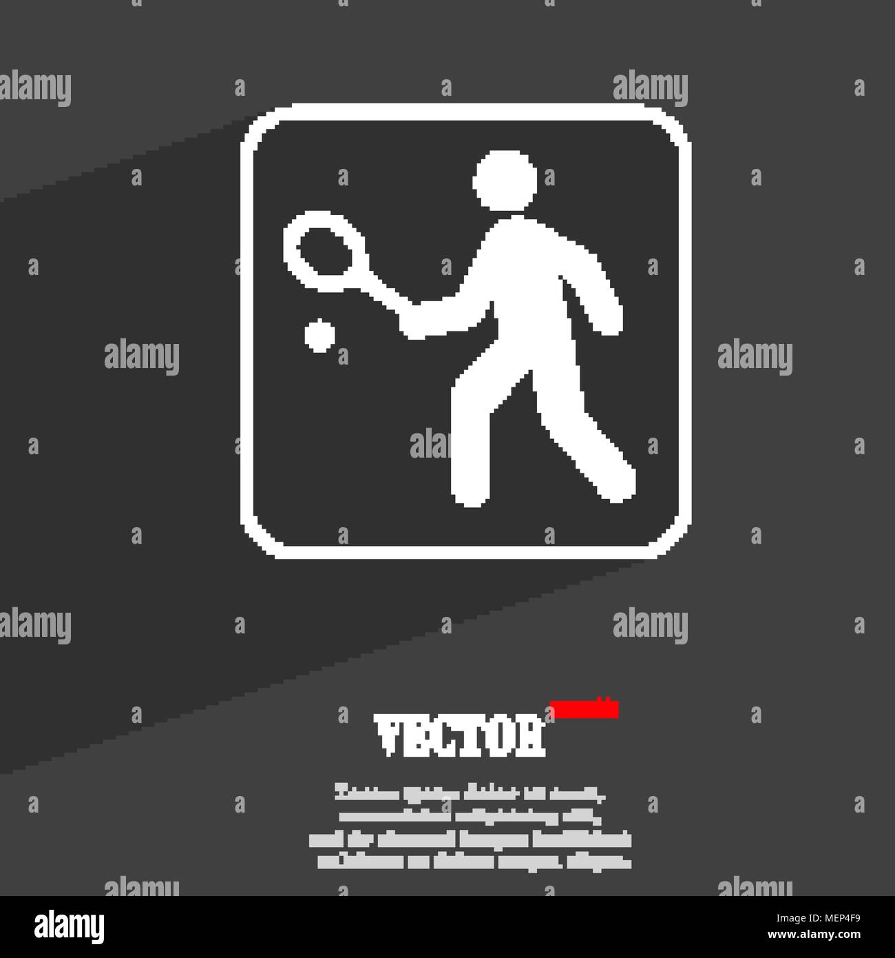 Tennis player symbol Flat modern web design with long shadow and space for your text. Vector illustration - Stock Image