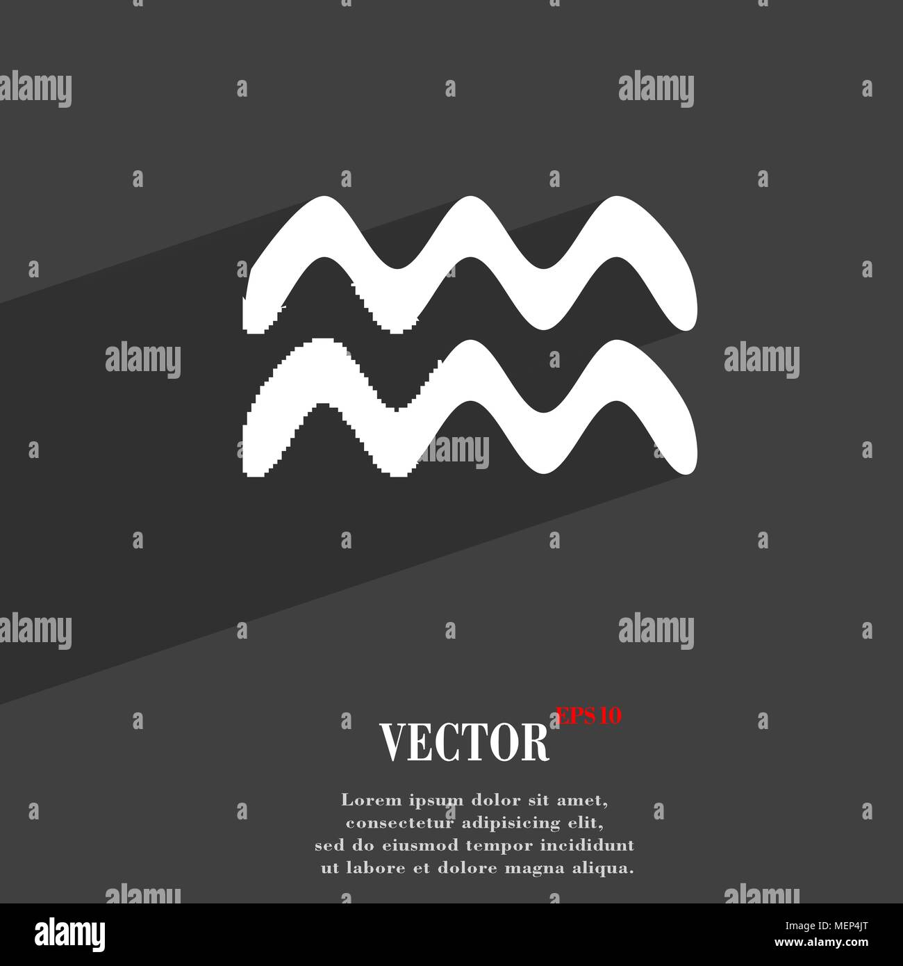 Aquarius symbol Flat modern web design with long shadow and