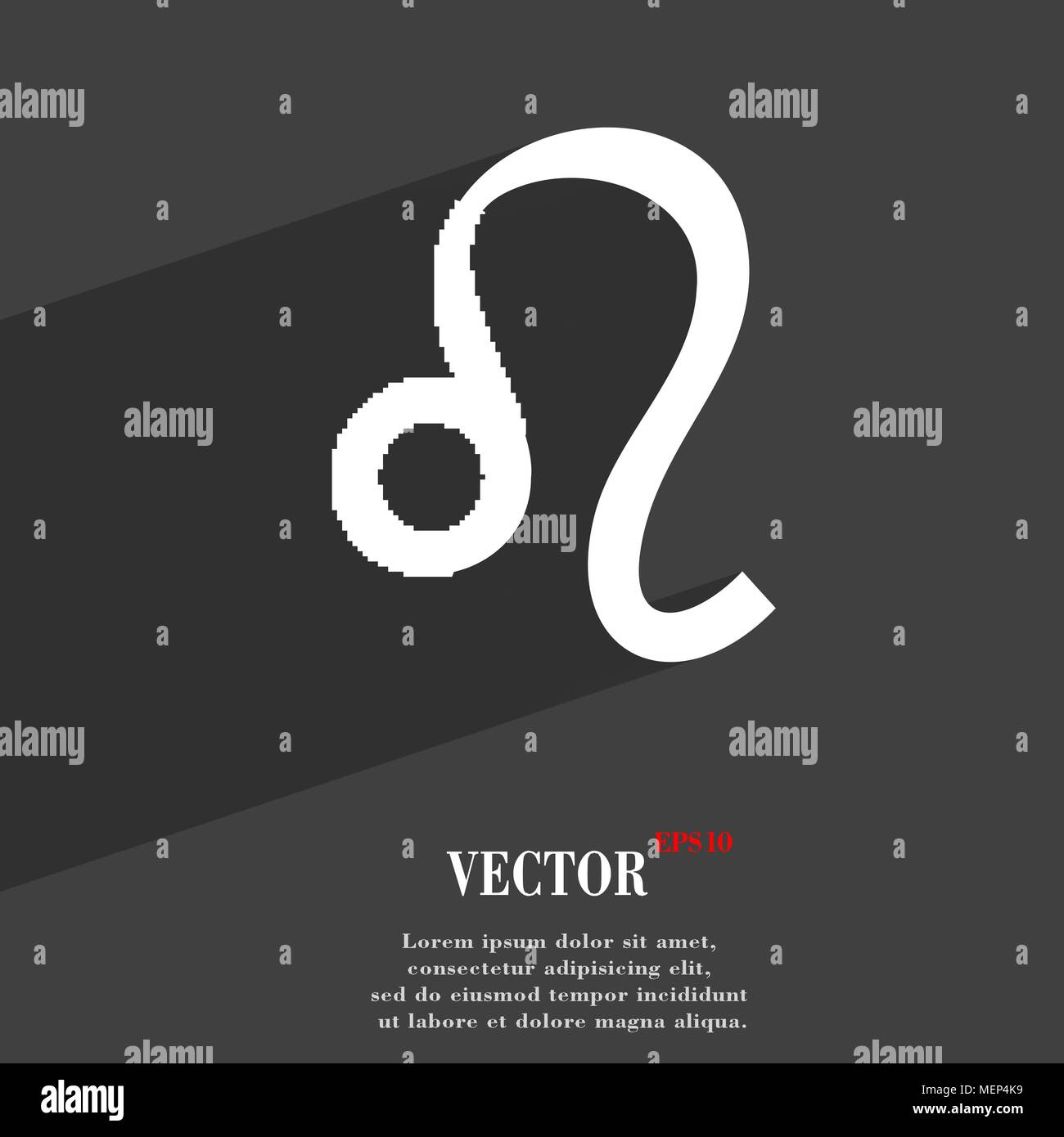 Leo Zodiac Symbol Flat Modern Web Design With Long Shadow And Space