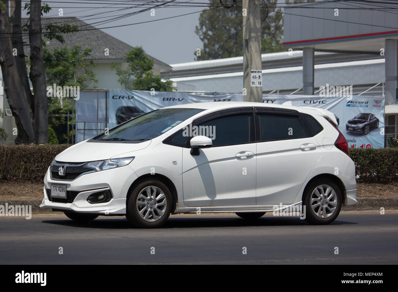 CHIANG MAI THAILAND -MARCH 27 2018 Private city Car Honda Jazz. Five door hatchback automobile. Photo at road no.121 about 8 km from downtown Chiang & CHIANG MAI THAILAND -MARCH 27 2018: Private city Car Honda Jazz ...