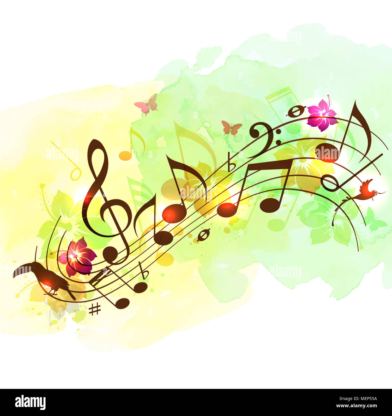 Abstract Music Background With Notes, Tropical Flowers And
