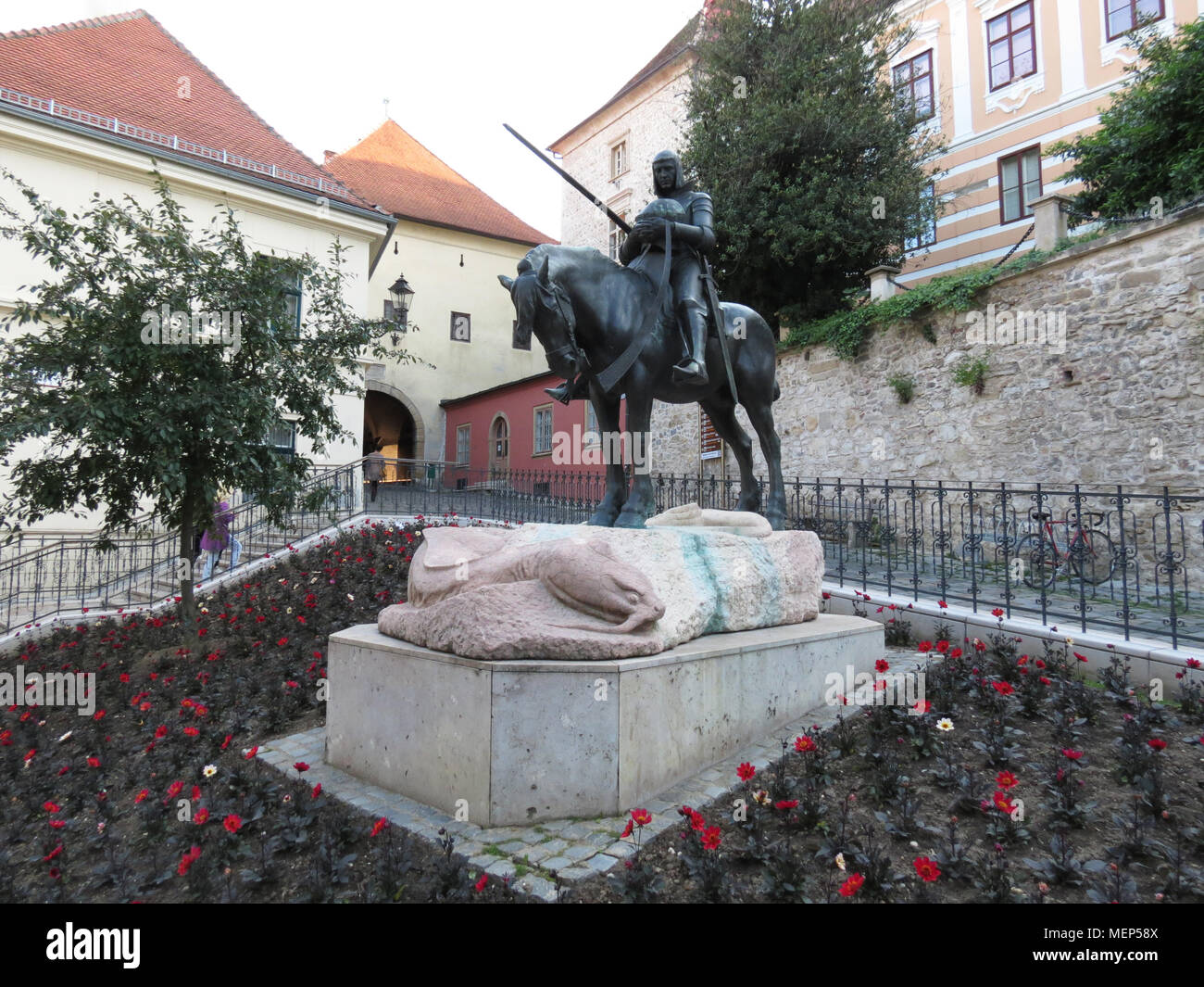 Statue of Saint George and the Dragon on Radiceva street in Zagreb Croatia - Stock Image