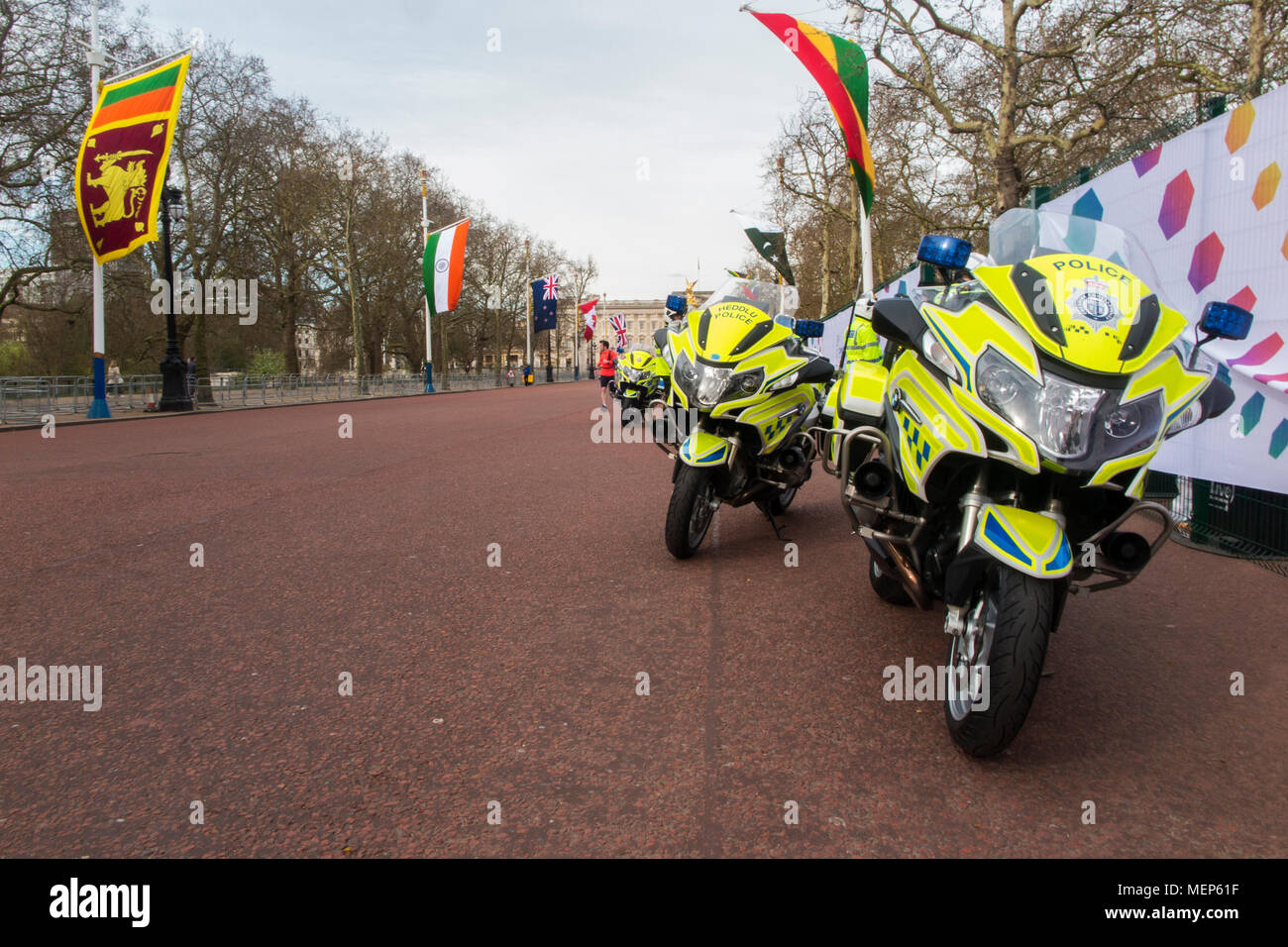 Police motorbikes on The Mall for the Commonwealth Heads of