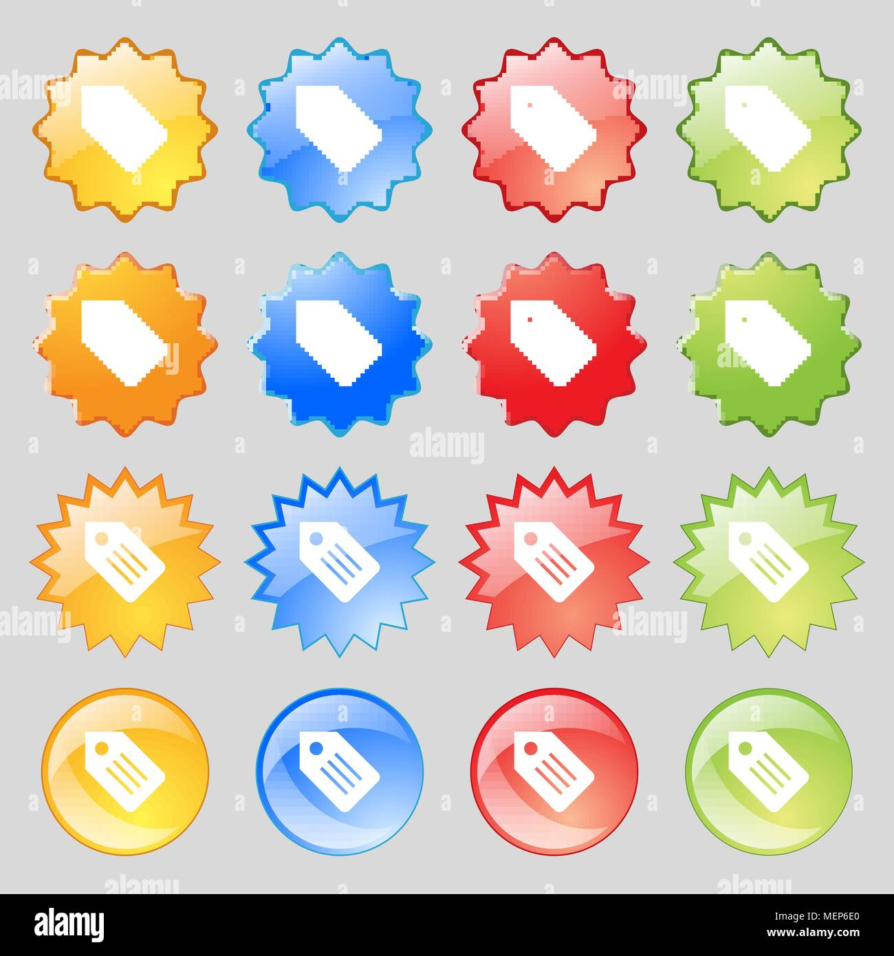 Web stickers tags and banners icon sign big set of 16 colorful