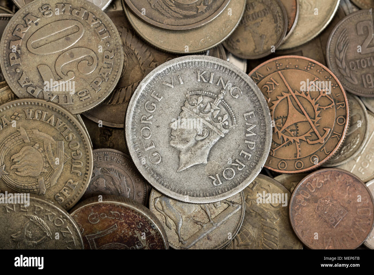 numismatics collection of coins - Stock Image