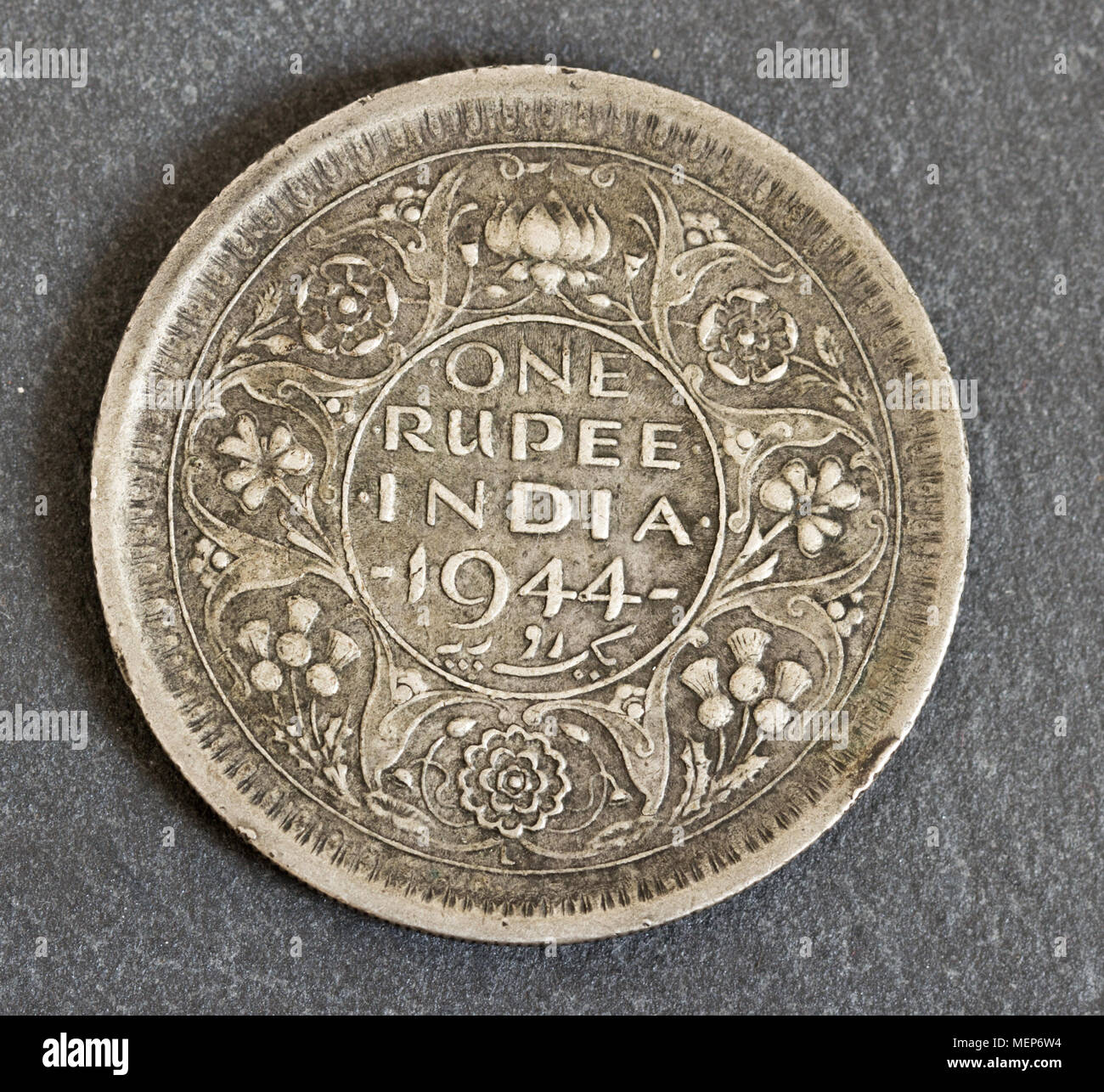 historical one rupee coin - Stock Image