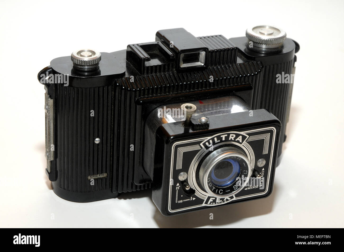 The Ultra Fex is a black bakelite camera made in France by Fex/Indo, circa 1946-66. It produces 6x9cm images on 120 film. - Stock Image