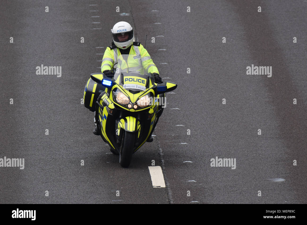 West Mercia Police Force motorcyclist - Stock Image