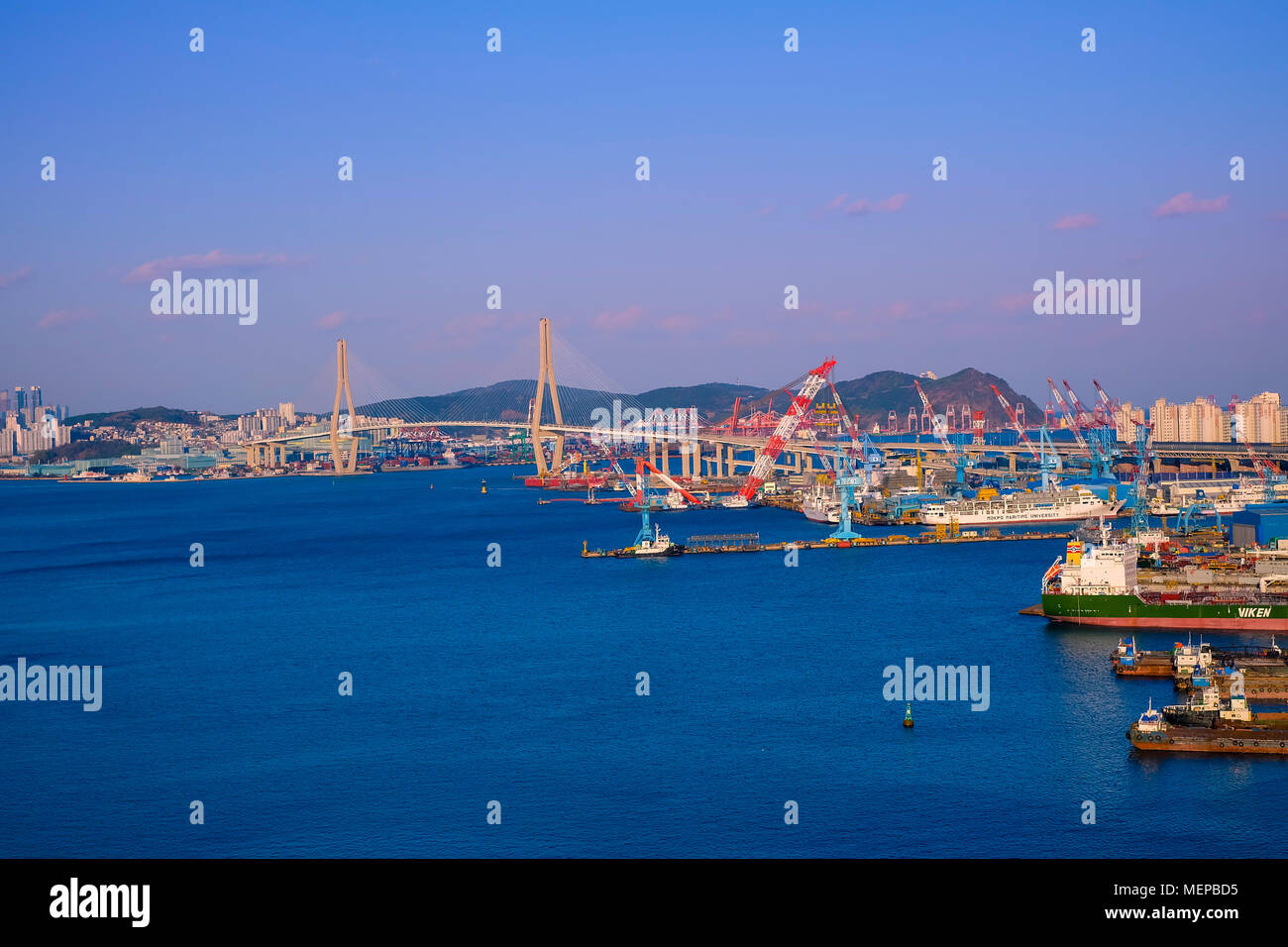 Aerial view of Busan port, South Korea. Stock Photo