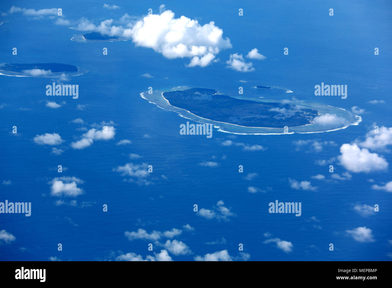 Overflying an Indonesian Archipelago in the Java Sea near Borneo - Stock Image