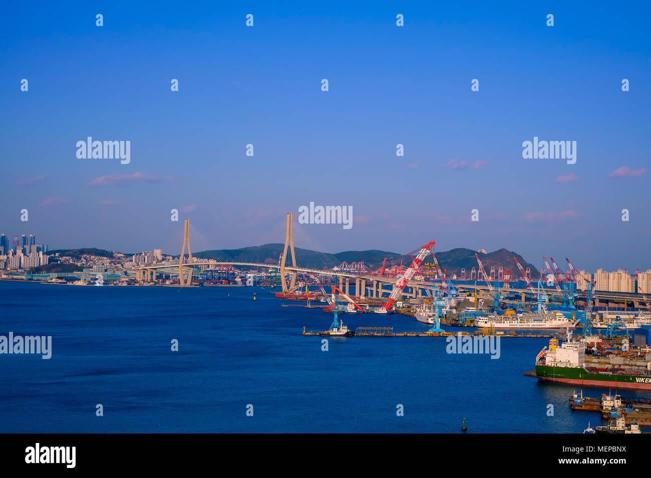 Aerial view of Busan port, South Korea. Stock Photo