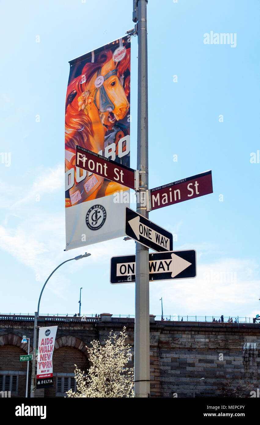 A poster for Jane's Carousel in Dumbo, Brooklyn - Stock Image