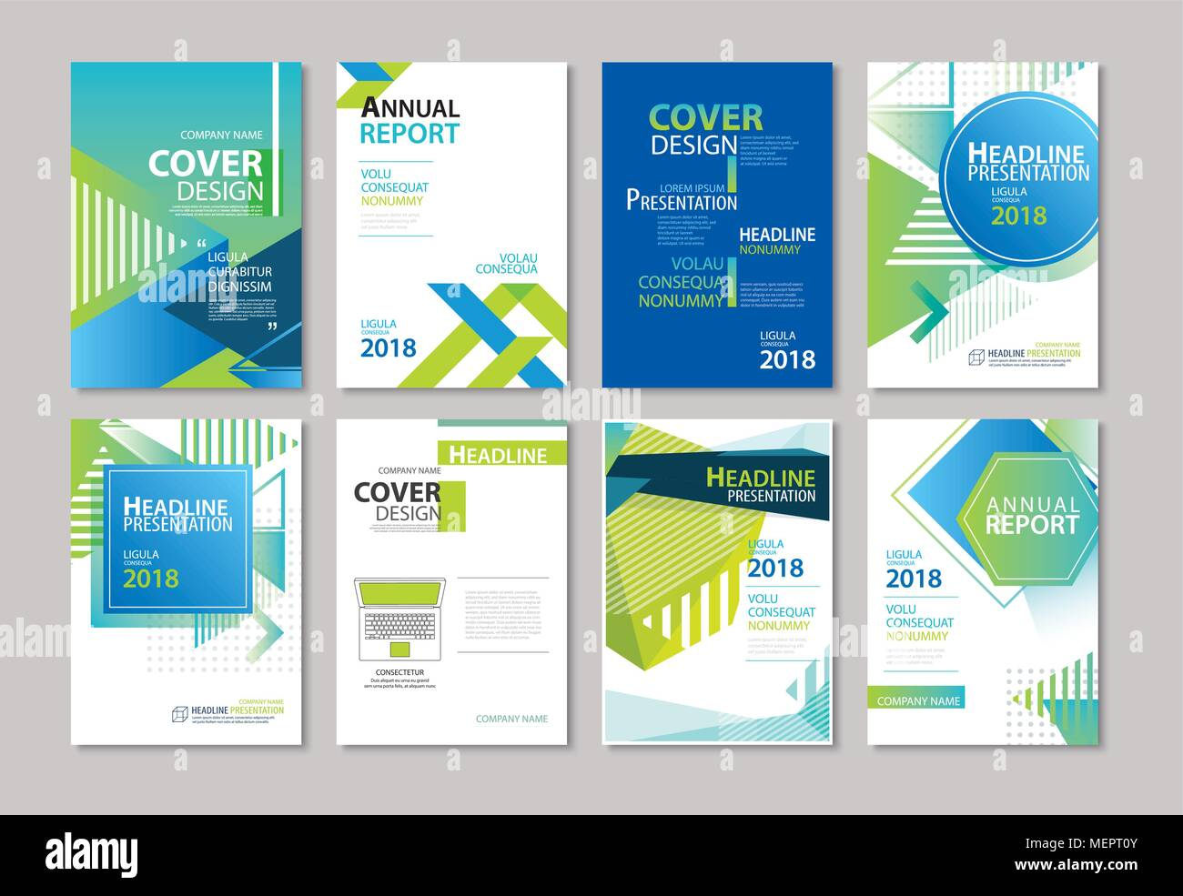 Set of blue cover brochure, flyer, annual report, design layout templates. Use for business magazine, presentation, portfolio, poster, corporate backg - Stock Image