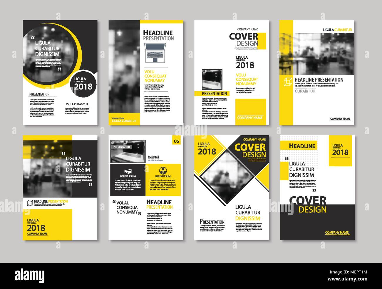set of yellow cover and layout brochure  flyer  poster