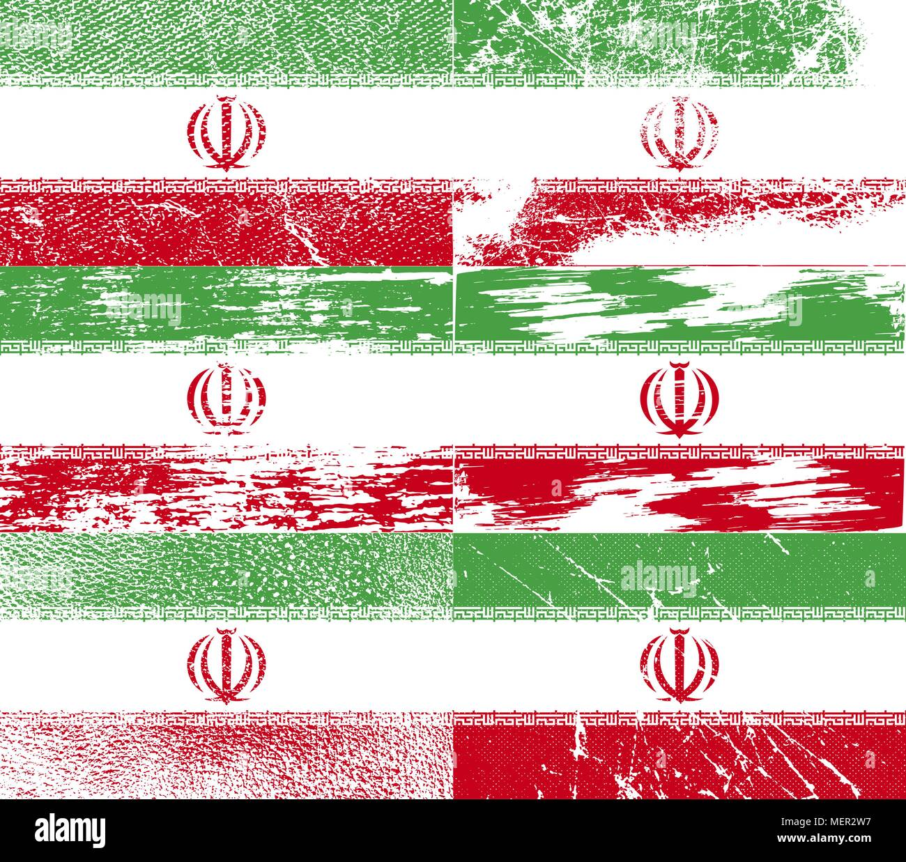 Flag of Iran with old texture. Vector illustration - Stock Image