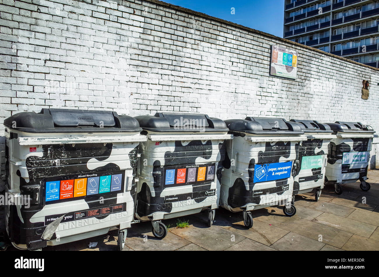 Recycling Bins in Shoreditch, near Old Street Roundabout Stock Photo