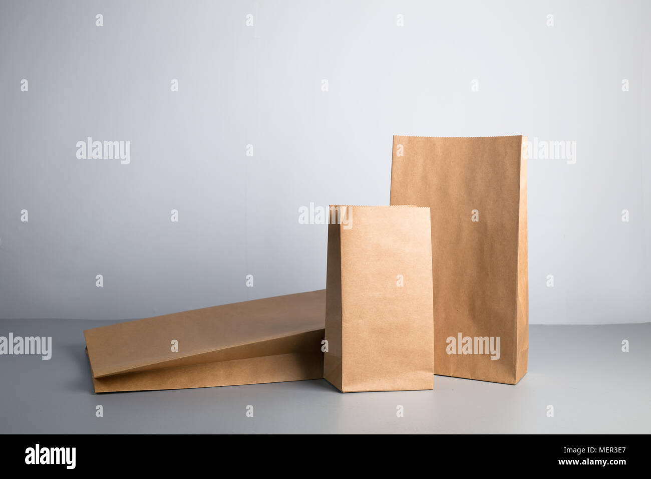 simple recyclable kraft paper bag - Stock Image