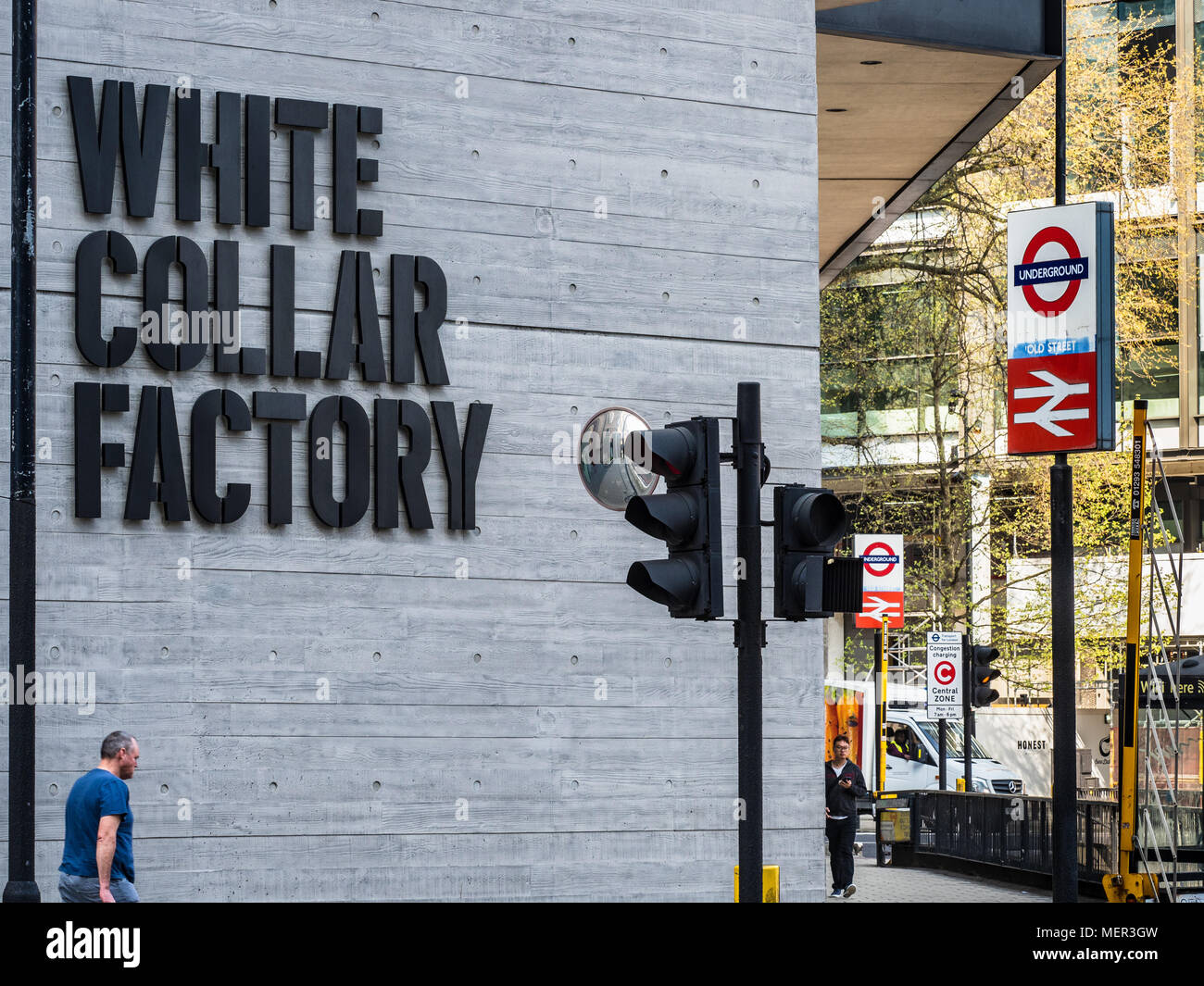 White Collar Factory on Old Street Roundabout in London's Silicon Roundabout district. Designed by AHMM Architects and Arup engineers, opened in 2017. - Stock Image