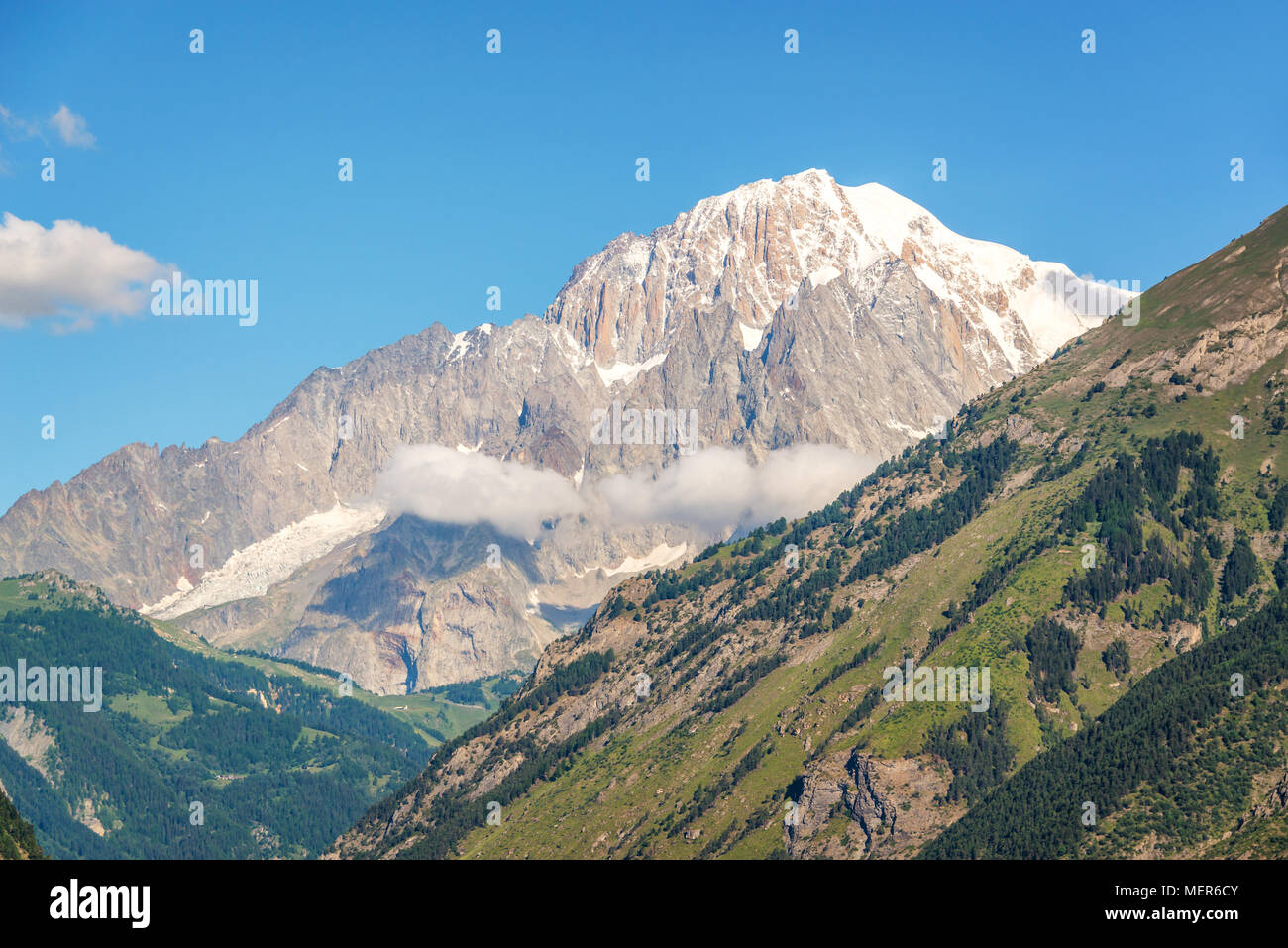 Monte Bianco (Mont Blanc) in the background view from Aosta Valley, Italy - Stock Image