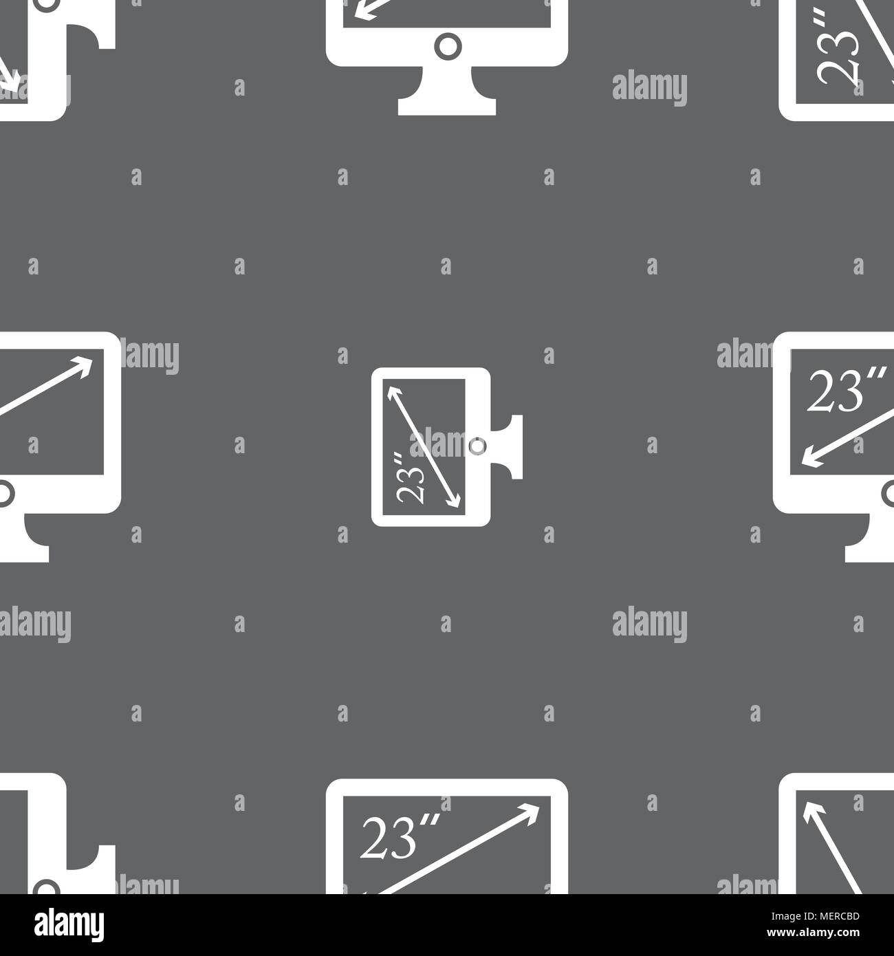 diagonal of the monitor 23 inches icon sign. Seamless pattern on a gray background. Vector illustration - Stock Vector