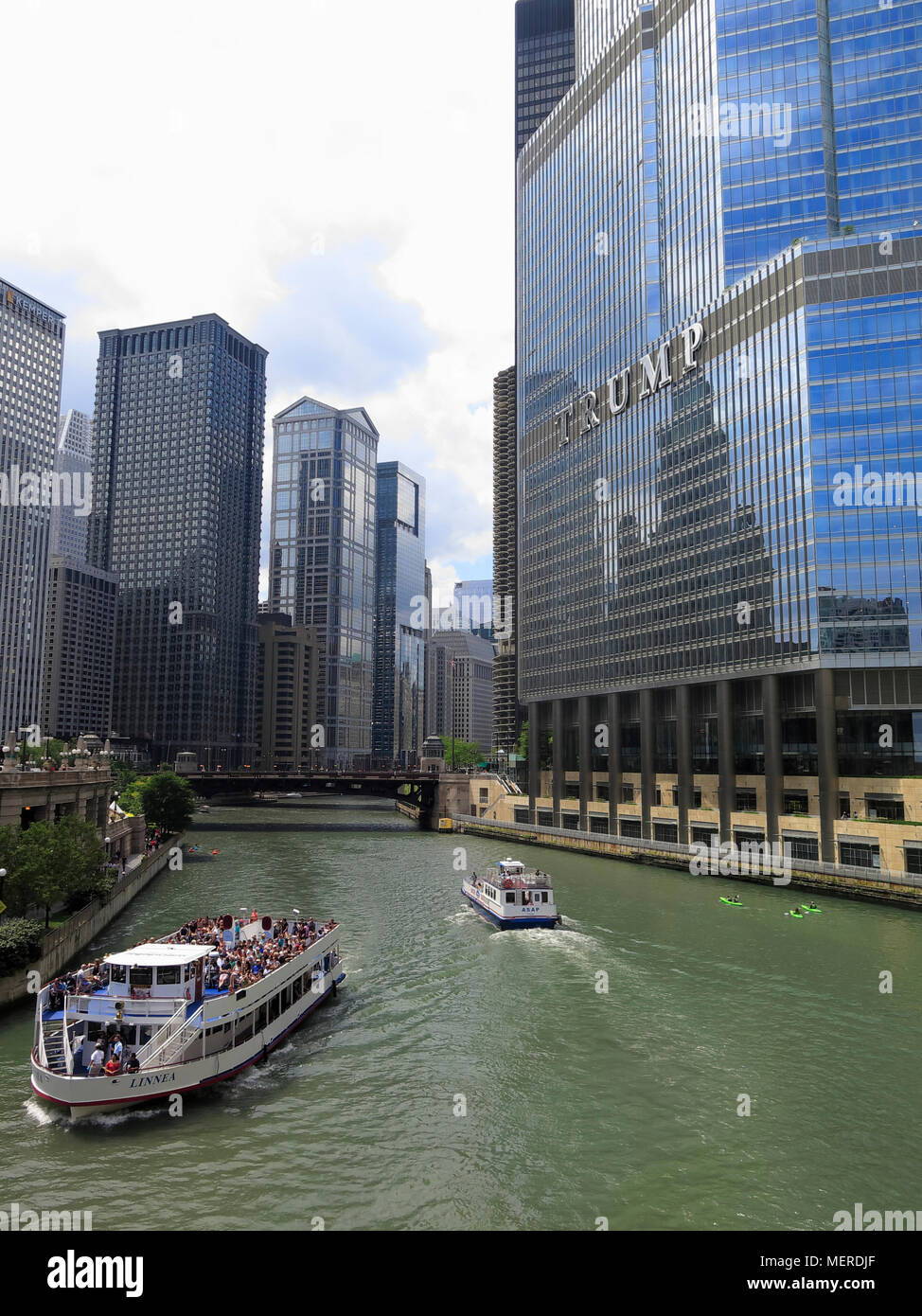 Trump Tower and International Hotel at Chicago River, Chicago, Illinois, USA - Stock Image