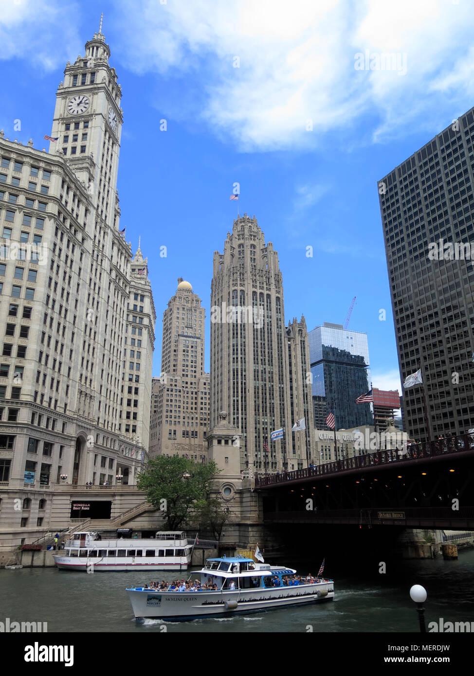 Tribune Tower  at Du Sable Bridge, Chicago river,Chicago, Illinois, USA - Stock Image