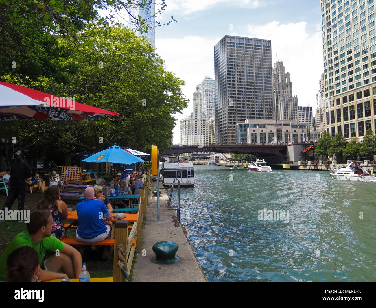 Cafe at Chicago River, Chicago, Illinois, USA Stock Photo