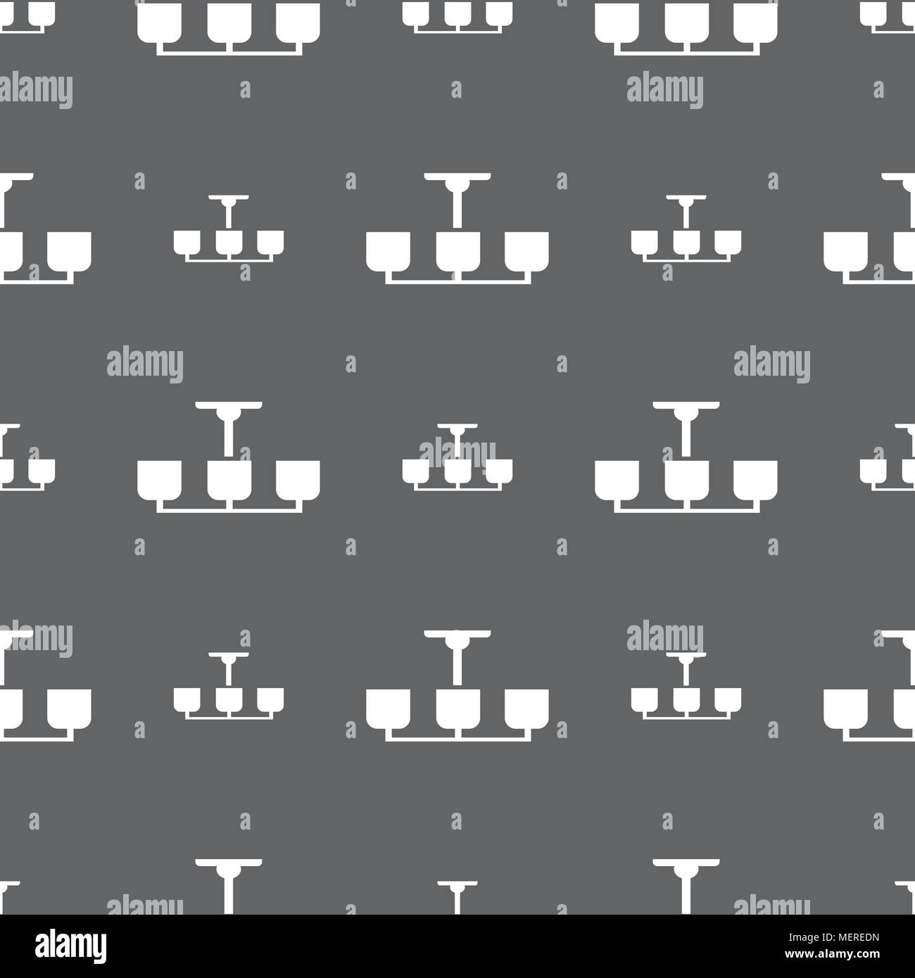 Chandelier Light Lamp icon sign. Seamless pattern on a gray ...