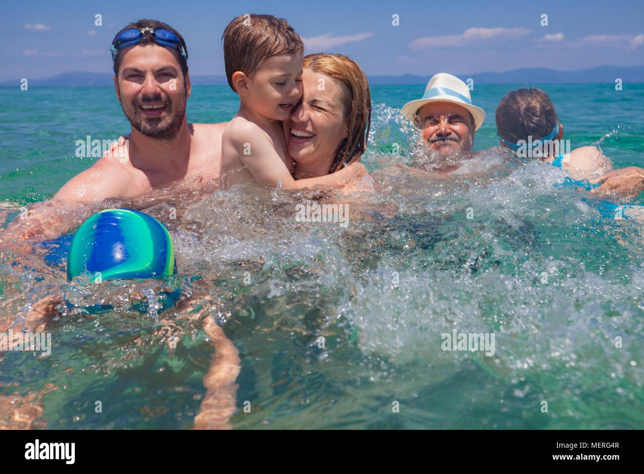Generations Sea Water Family Happy - Stock Image