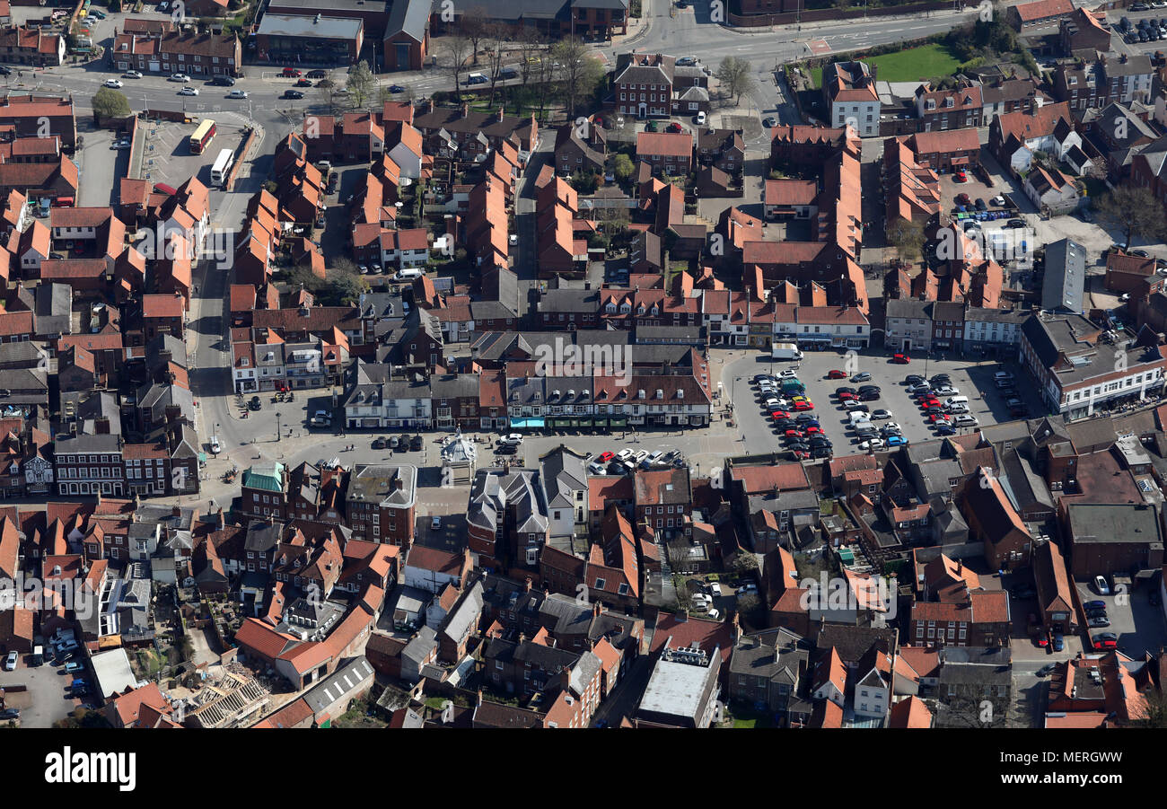 aerial view of Beverley Market Square & town centre, East Yorkshire - Stock Image