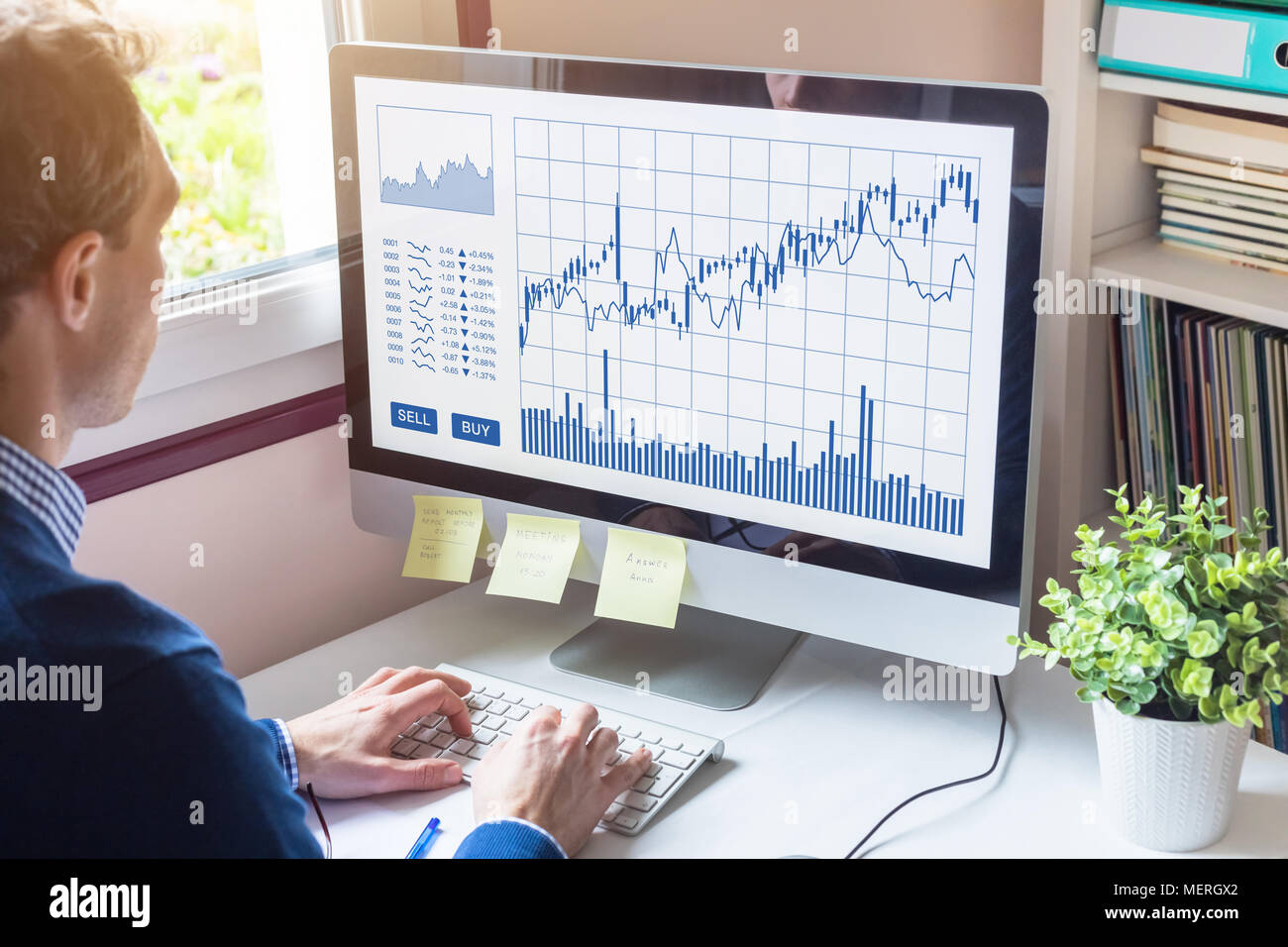 Home trader analyzing forex (foreign exchange) trading charts and buy sell buttons on computer screen, stock market investment, financial technology ( - Stock Image