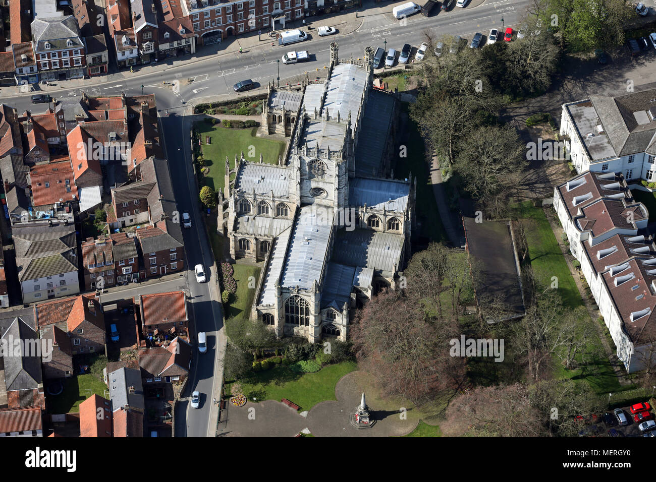 aerial view of St Marys Church in Beverley town centre, East Yorkshire Stock Photo