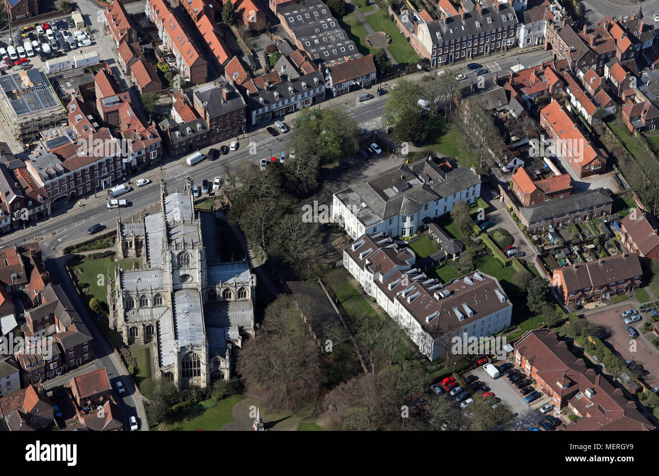 aerial view of St Marys Manor in Beverley town centre, East Yorkshire Stock Photo