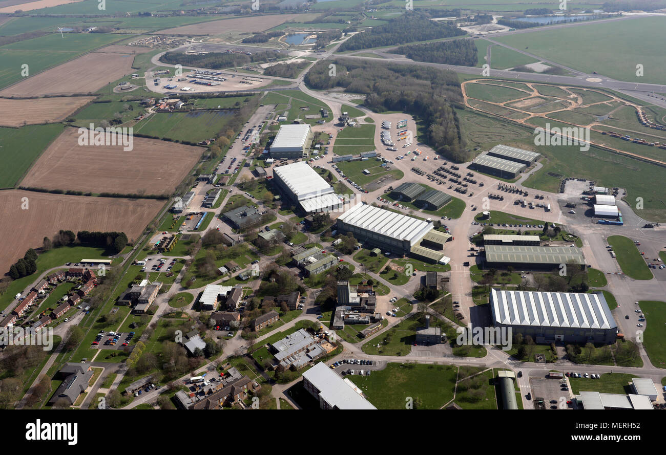 aerial view of The Defence School of Transport at Leconfield Airfield - Stock Image