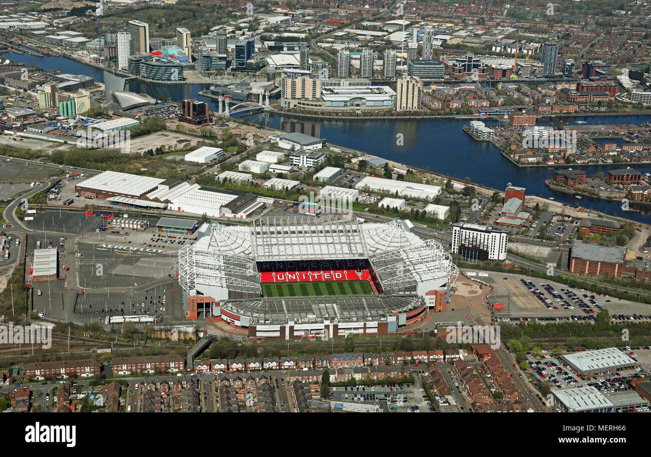 aerial view of Manchester United Old Trafford and Salford Quays - Stock Image