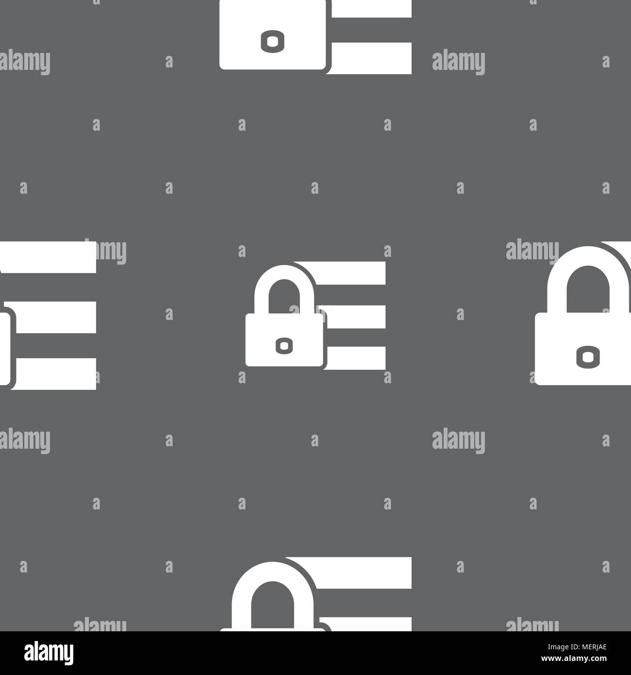 Lock, login icon sign  Seamless pattern on a gray background