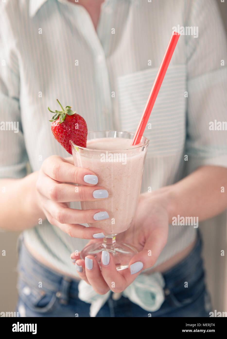 Strawberry Milkshake Girl Stock Photos Strawberry Milkshake Girl