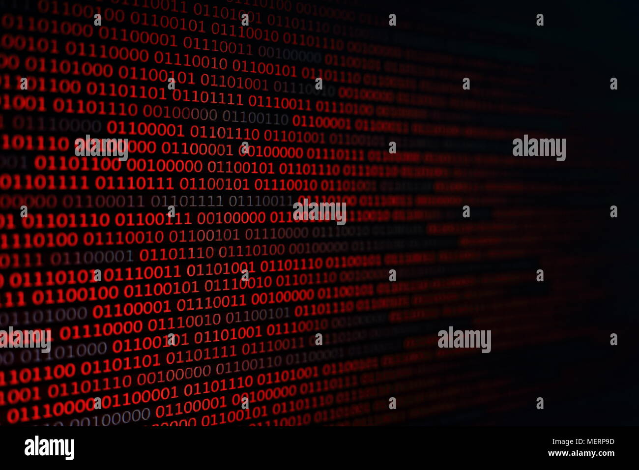 red binary code background. computer problems concept. black background. malware virus data transfer. - Stock Image