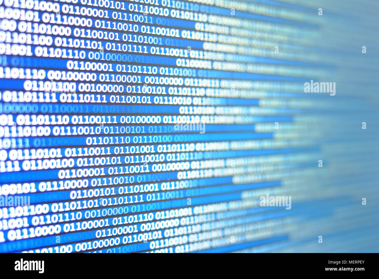 Abstract Technology data stream concepts. moving white blue binary code on black display screen. - Stock Image