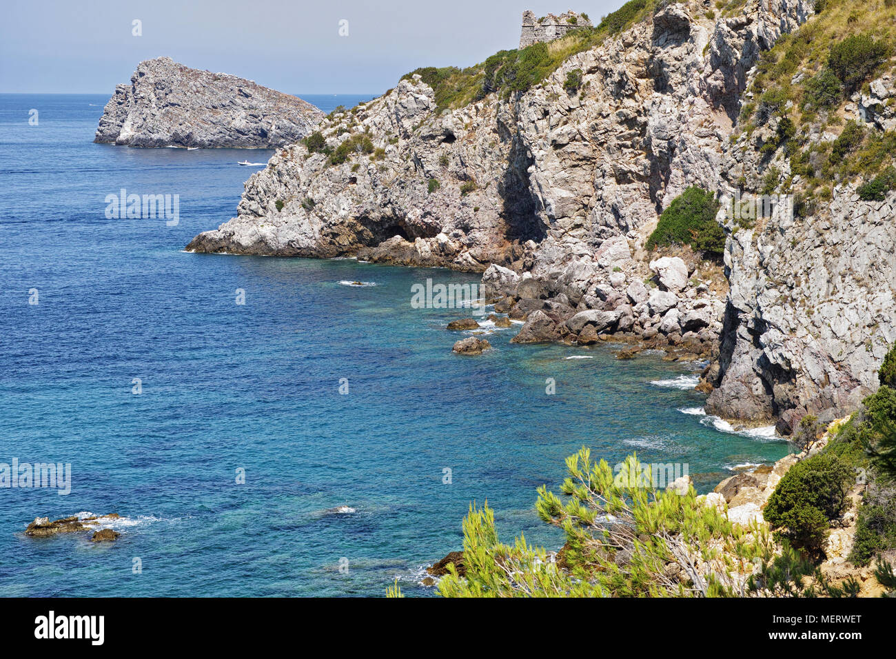 stretch of coast on the promontory of Argentario, Tuscany, Italy - Stock Image