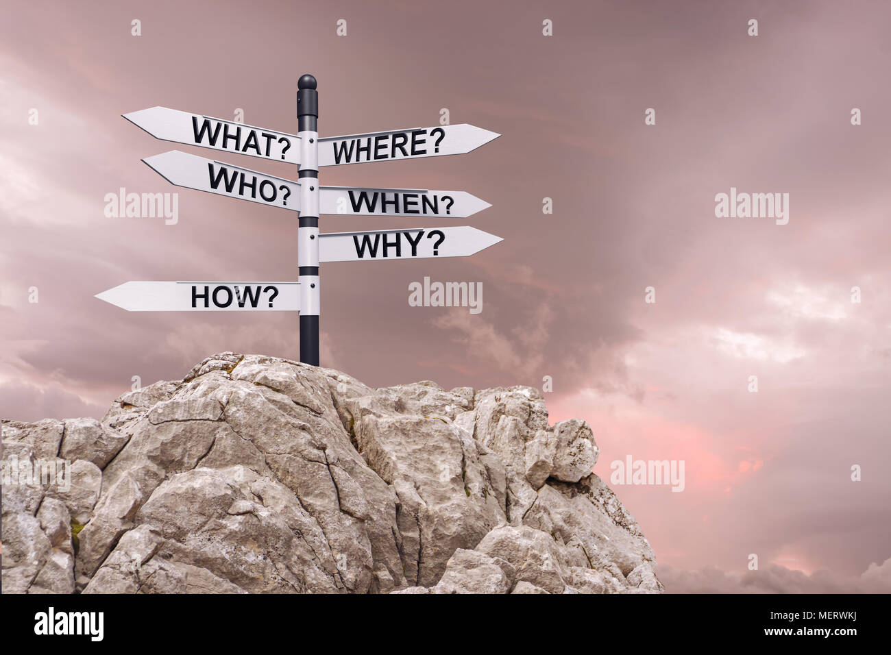 Signpost with arrows,Business and education concept with analysis for success. - Stock Image