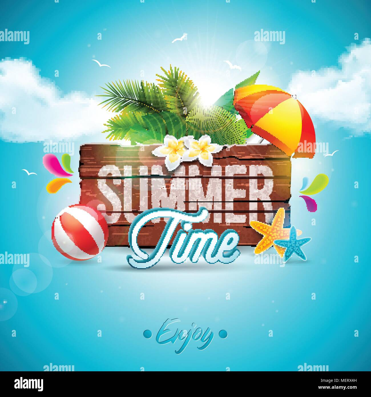 vector summer time holiday typographic illustration on vintage wood