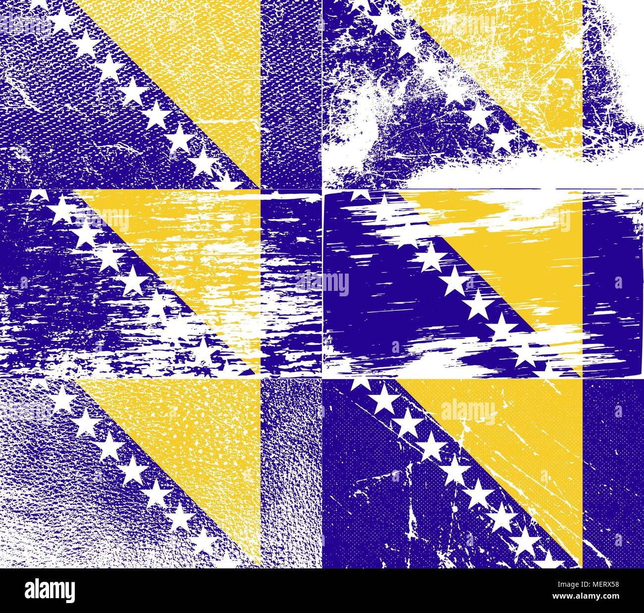 Flag of Bosnia and Herzegovina with old texture. Vector illustration - Stock Vector