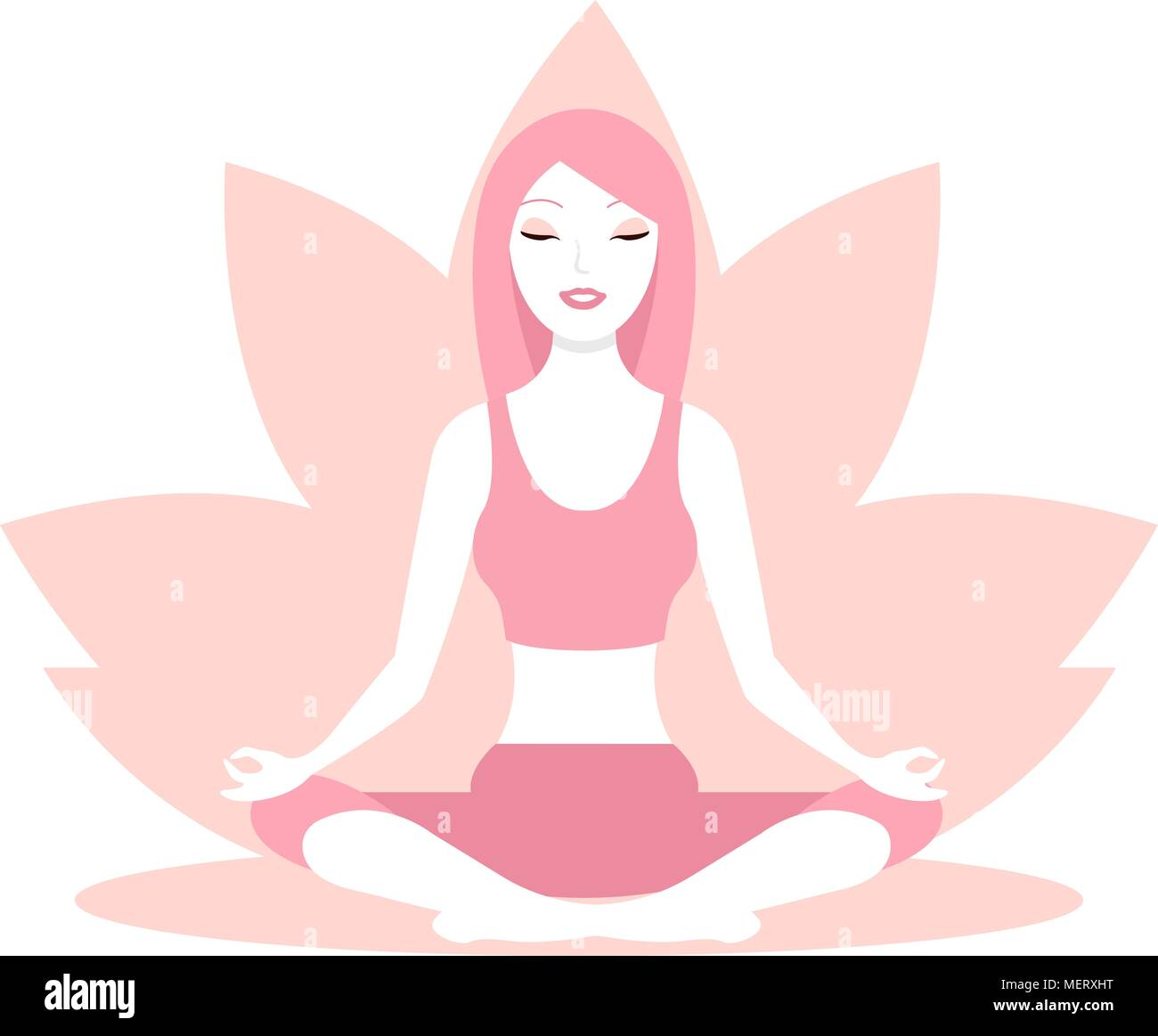 Woman, sitting in lotus position - Stock Vector
