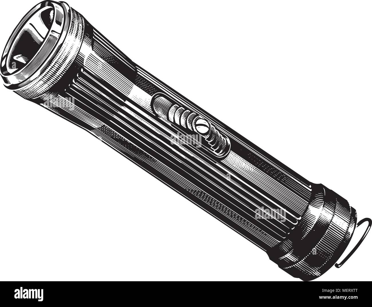 Flashlight - Retro Clipart Illustration - Stock Image