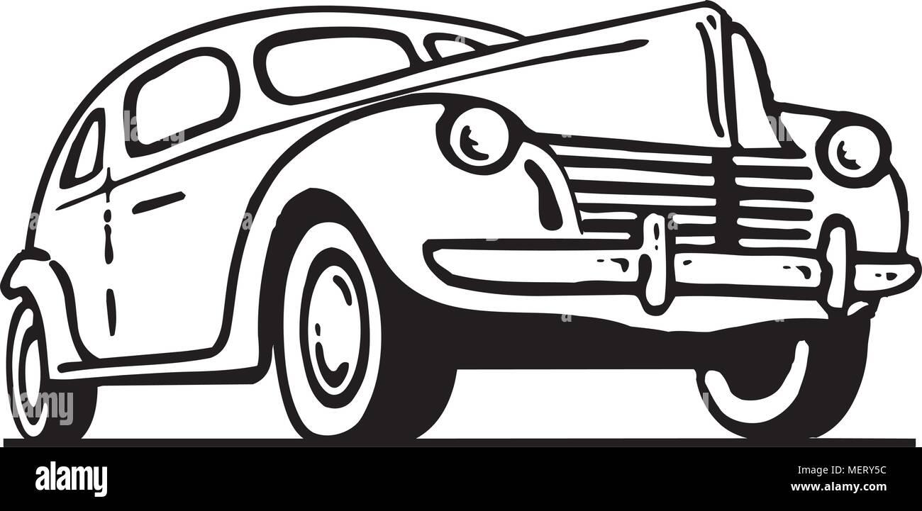 Forties Ford - Retro Ad Art Illustration - Stock Vector