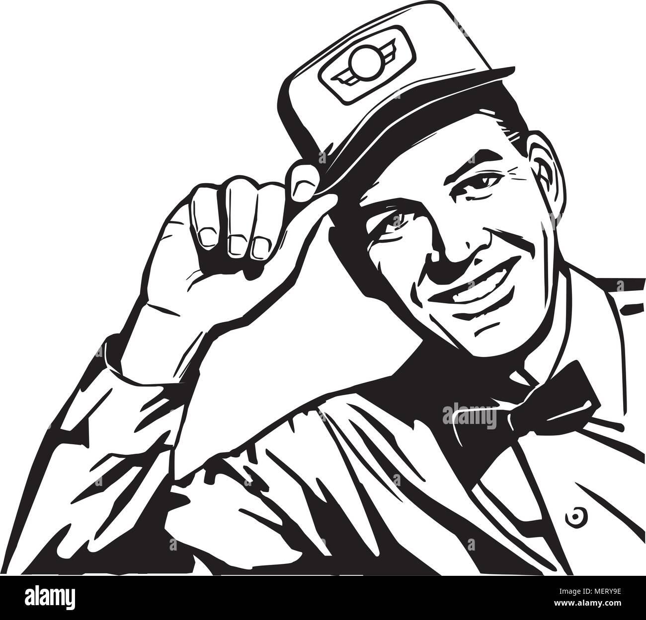 Friendly Service Man - Retro Clipart Illustration - Stock Vector